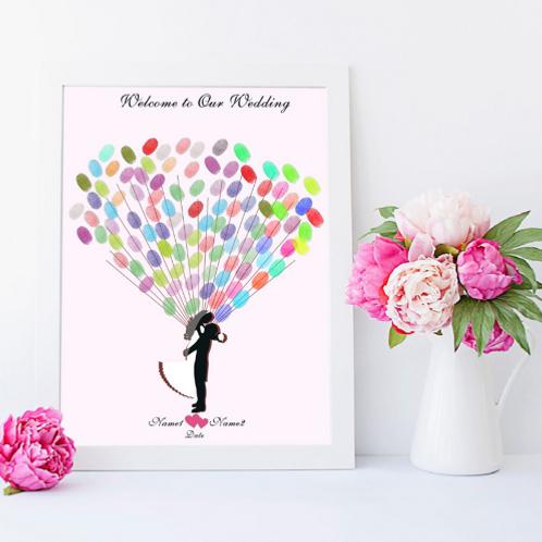 Fingerprint gastenboek happy bruidspaar