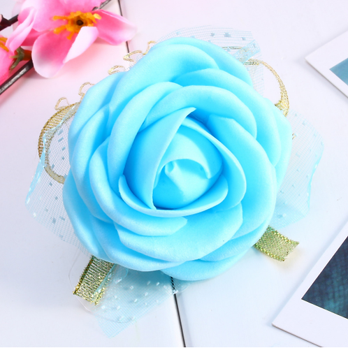 Corsage roos blauw