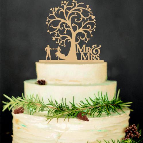 Bruidstaart topper hout ''Love tree''