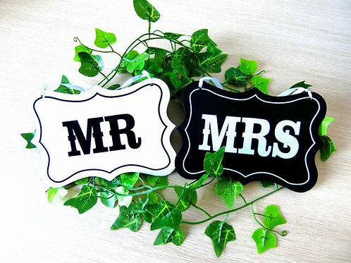 Mr & Mrs stoeldecoratie zwart wit