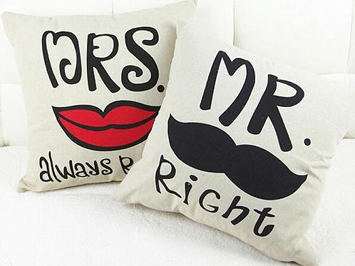 Mr & Mrs grappige kussensloop