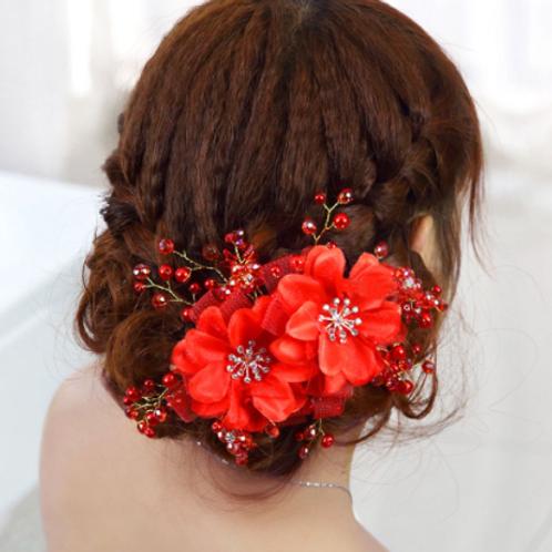 Haaraccessoire beautiful flowers rood