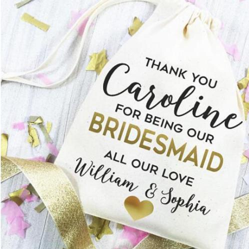 Gepersonaliseerde bruidsmeisjes bedankzakje