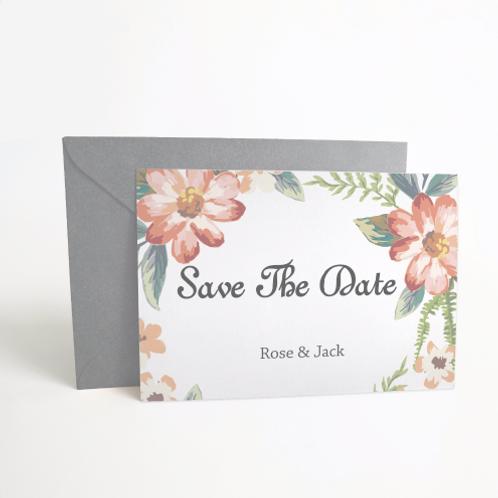 Save the Date boho romantische bloemenprints