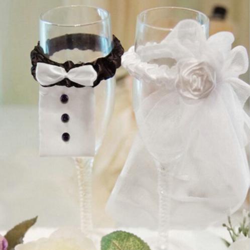 Champagneglas decoratie bruid & bruidegom