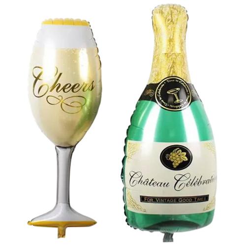 Folieballon champagnefles & glas