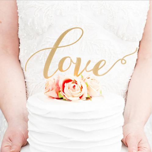 Bruidstaart topper love goud met glitter