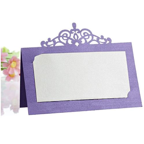 Plaatskaartje kroon paars