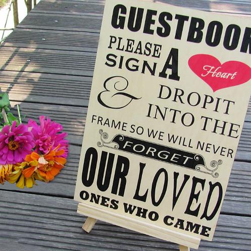 Welkomsbord/uitleg gastenboek - teken een hart