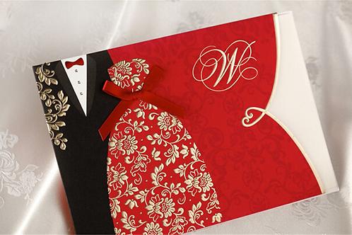 Trouwkaart bruid & bruidegom zwart/rood met goude elementen