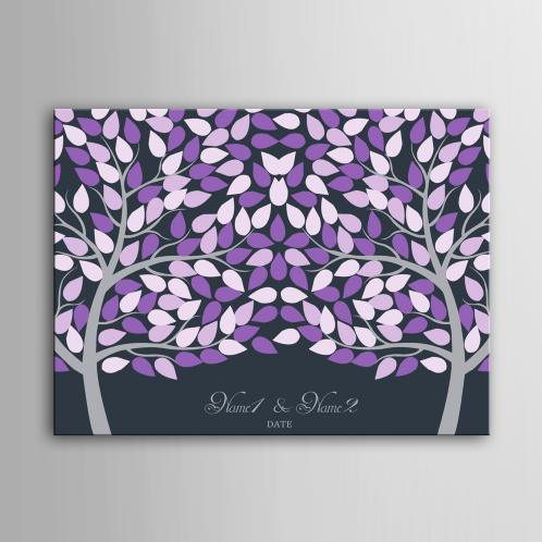 Canvas gastenboek paars met 2 wensbomen