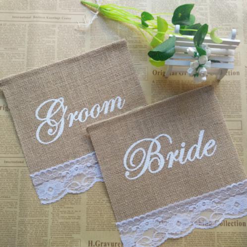 Slinger groom & bride jute