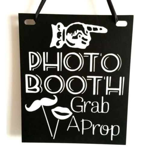 Krijtbord hout Photobooth grab a prop