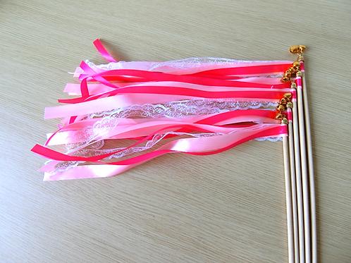 Wedding wands roze met kant