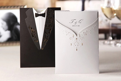 Trouwkaart twee zijde bruid & bruidegom in één