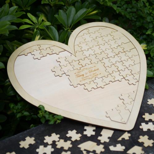 Gastenboek puzzel hart personaliseerbaar