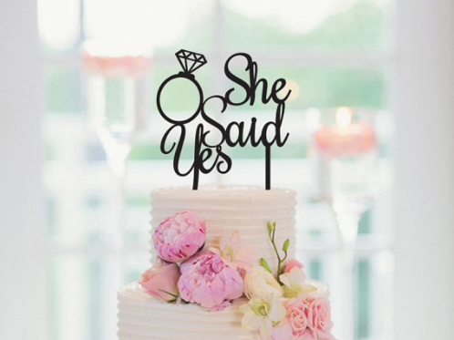 Bruidstaart topper ''She Said Yes''