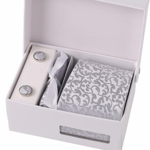 Stropdas set zilver in luxe doos