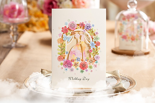 Trouwkaart sprookjesachtig inclusief bruidspaar