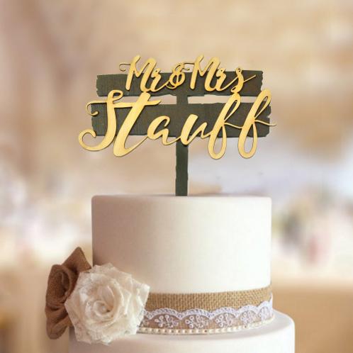 Bruidstaart topper hout Mr & Mrs gepersonaliseerd