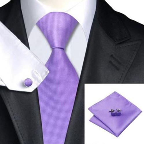 Stropdas set met pochet en manchetknopen paars