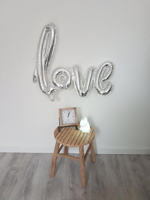 Folieballon zilver Love