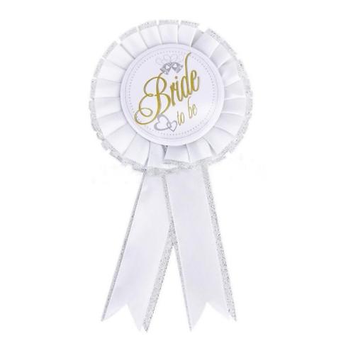 Bride to be badge wit/zilver