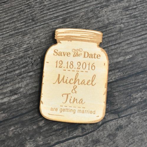 Save the Date unieke magneet houten potje