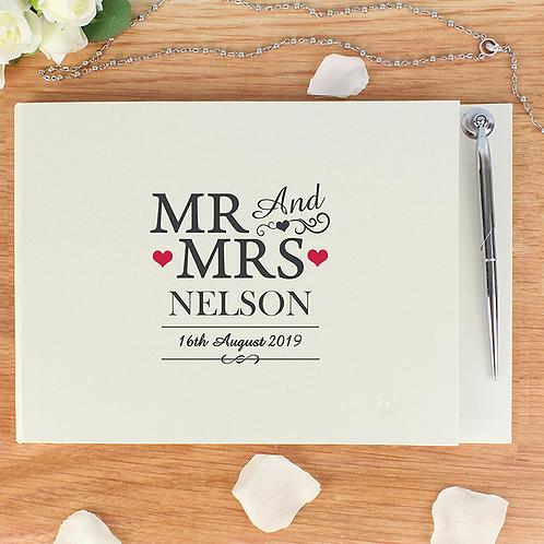 Gastenboek Mr & Mrs met pen