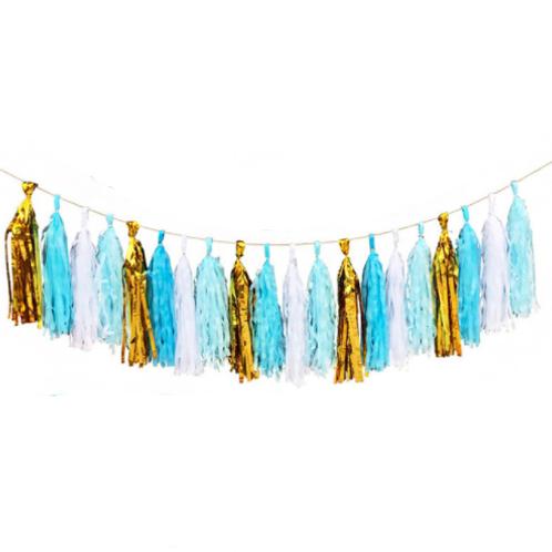 DIY Tasselslinger baby blauw goud (20x)