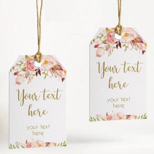 Wedding labels rustieke bloemen gepersonaliseerd