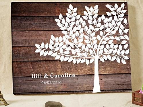 Gastenboek houtnerf canvas met wensboom