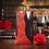 Thumbnail: Trouwkaart bruidspaar zwart/rood uitschuifbaar