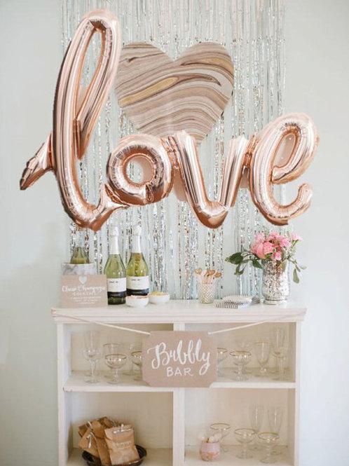 Folieballon rosegoud Love