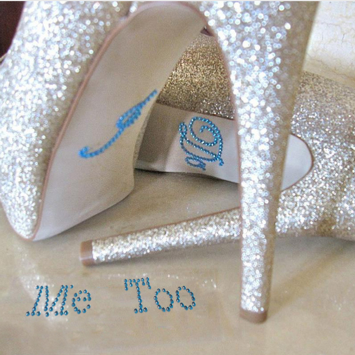Schoenstickers I do & Me too blauw