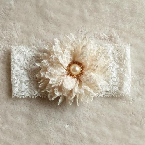 Kousenband kant met bloem en parel