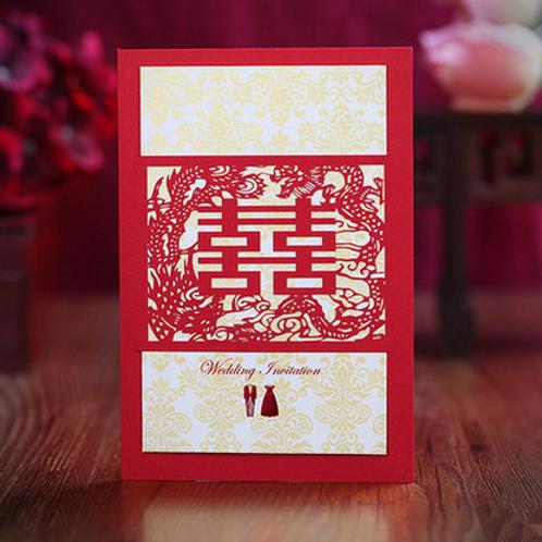 Trouwkaart traditioneel dubbel geluk rood
