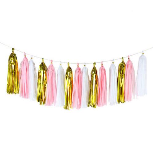 DIY Tasselslinger roze goud (15x)