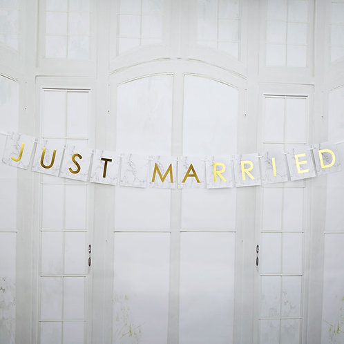 Marmer goud just married slinger