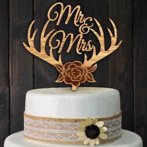Mr & Mrs gewei bruidstaart topper