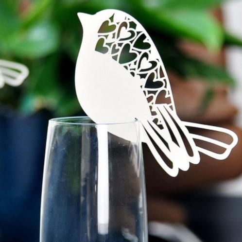 Plaatskaartje love birds wit/parelachtige glans