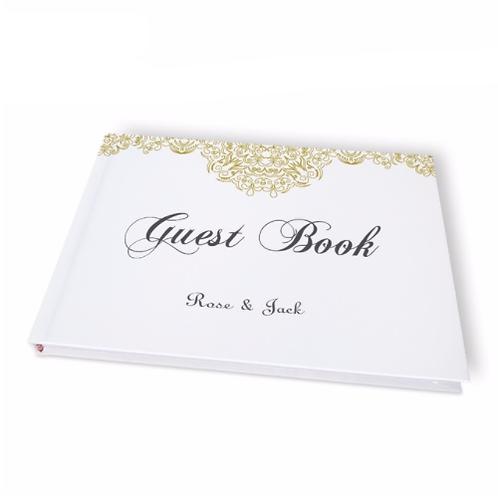 Gastenboek lace wit/goud