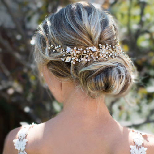 Haaraccessoire hair vine goud bloem & blad