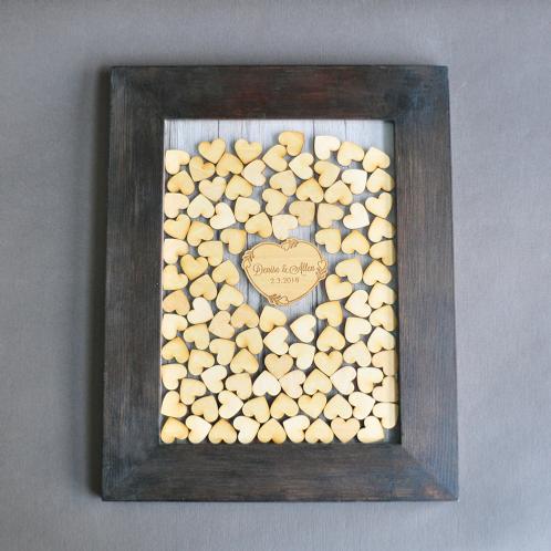 Alternatief gastenboek hout gepersonaliseerd
