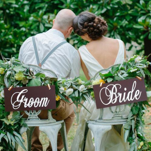 Stoelbordjes groom & bride