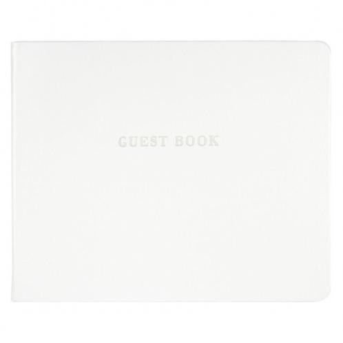 Gastenboek wit kunstleer