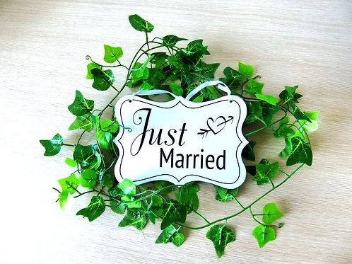 Just Married bruiloft bordje
