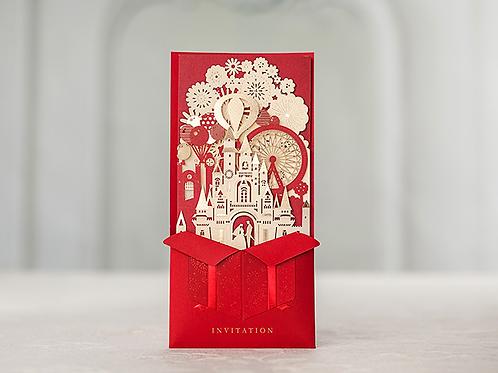 Trouwkaart kasteel voor een romantische bruiloft