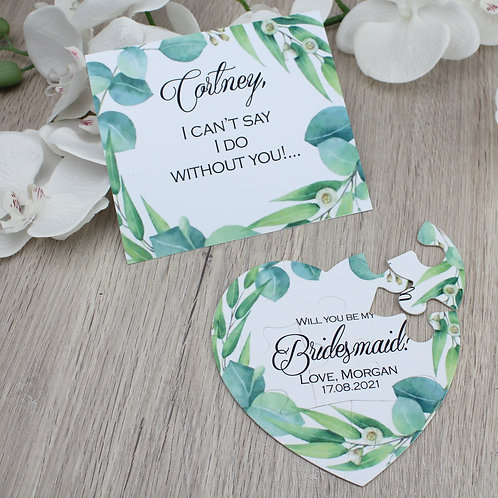 Uitnodigingspuzzel bladeren bridesmaid