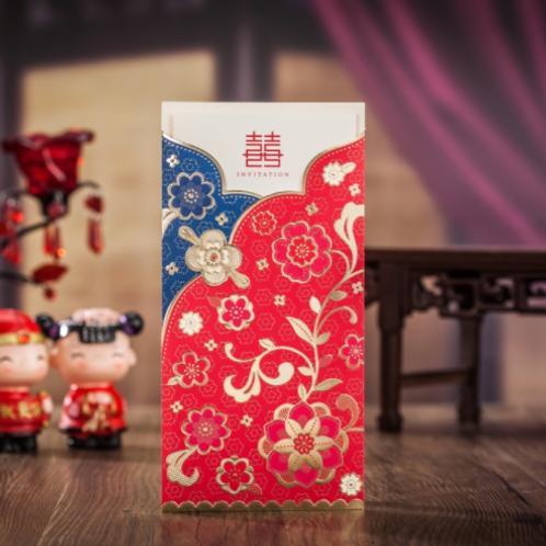 Trouwkaart Aziatisch dubbel geluk blauw rood